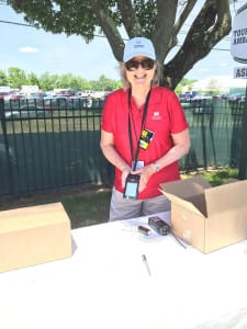 EM Editor Sandra O'Loughlin scored a red shirt for fulfilling duties scanning guest badges. Hey, that was hard work.