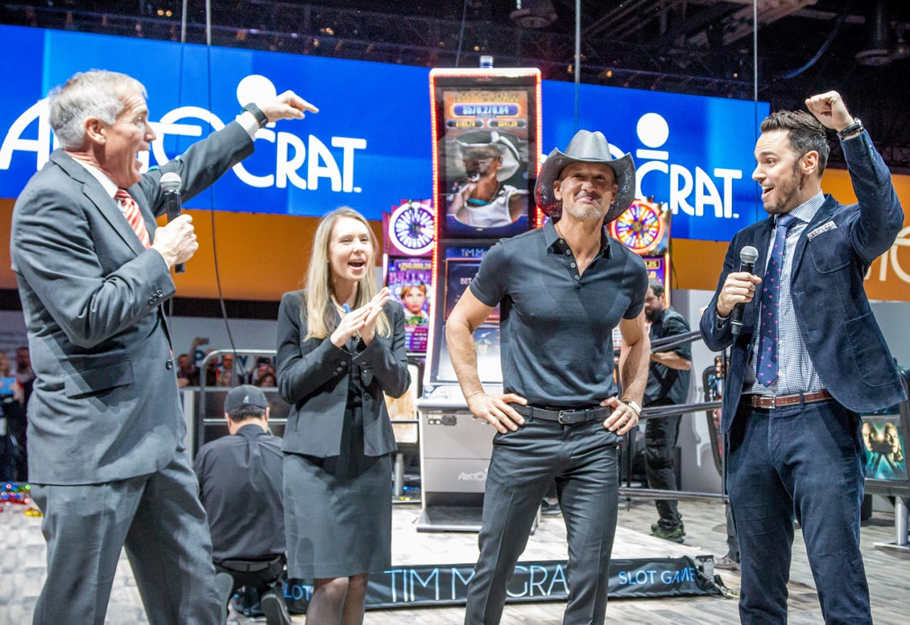 Aristocrat Teams up with Tim McGraw for a Game-Changing B-to-B Stunt at G2E