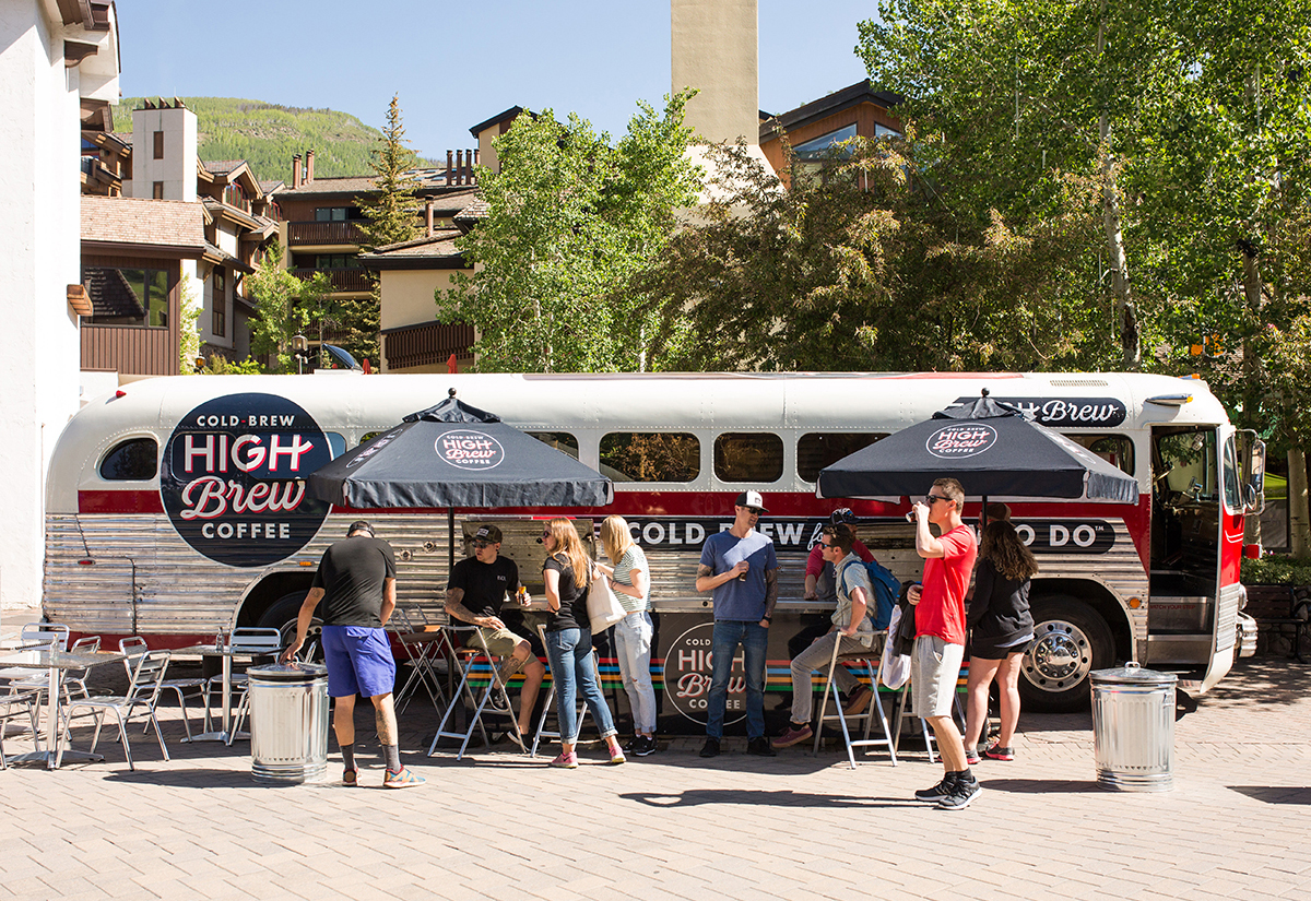 On a Vintage Coach Bus, High Brew Samples its Cold Brew Analog-Style