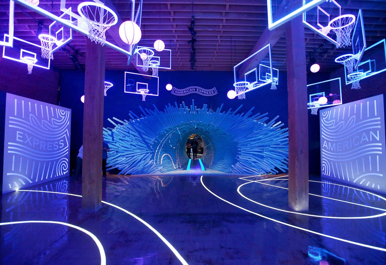 American Express at NBA All-Star Weekend: Chandelier Hoops and 'Exploded' Floorboards