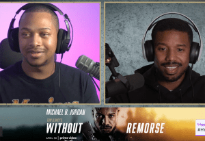 Amazon film launch 2021_Twitch_WatchToweR and Michael B. Jordan laugh on screen