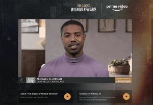 Amazon Without Remorse 2021_Virtual Premiere_Michael B. Jordan on a screen