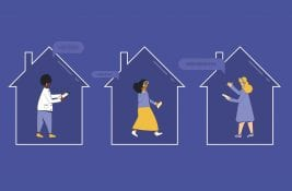 social audio stock_three characters in three separate houses on their phones