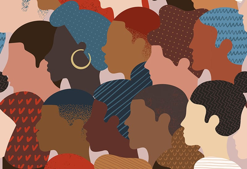 stock diversity crowd of illustrated people, diverse races